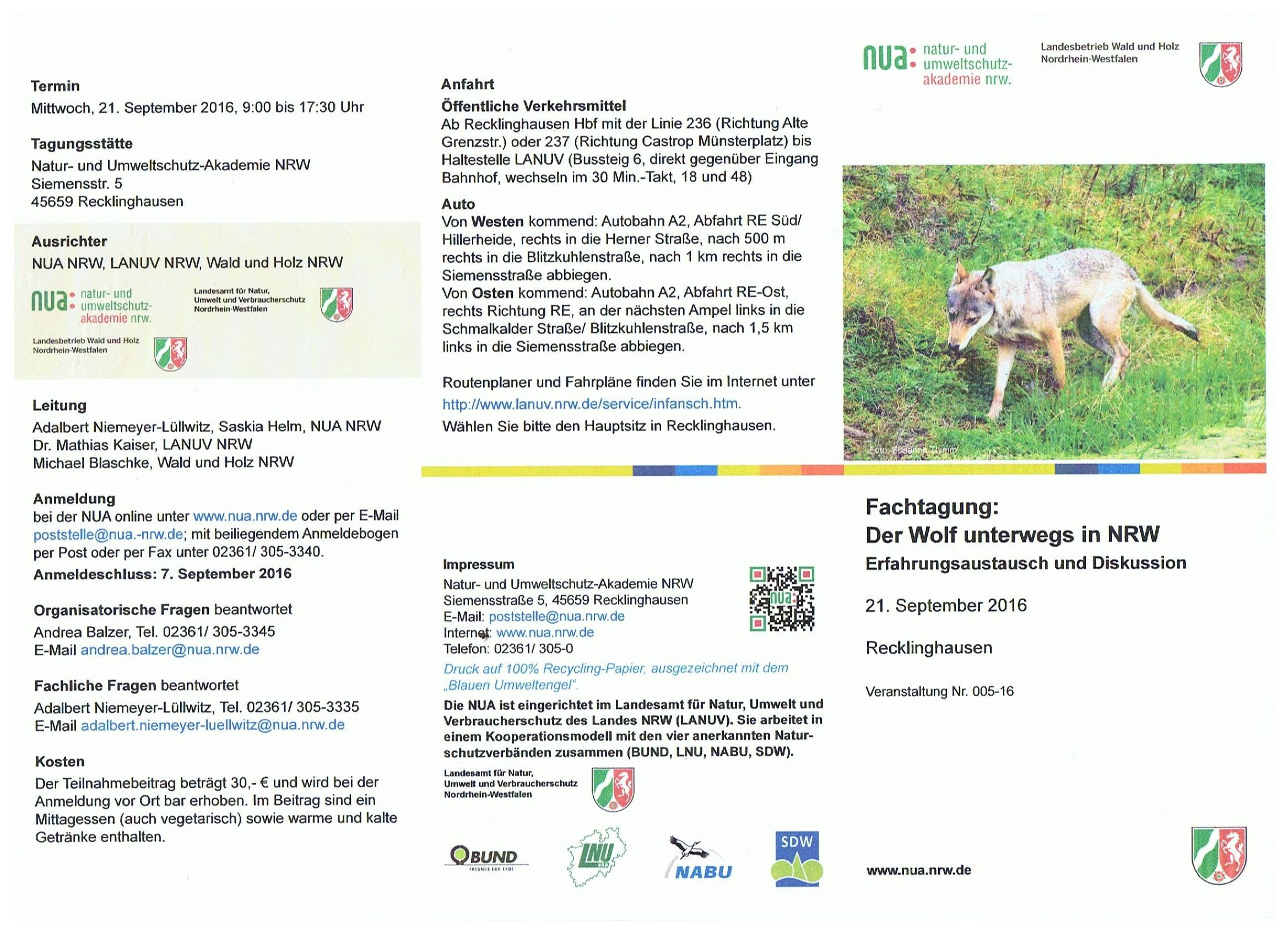 Der Wolf unterwegs in NRW | Hegering Schermbeck
